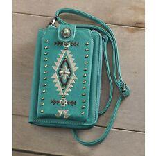Montana West Turguoise Embroidery and silvertone studsCrossbody Cellphone Bag