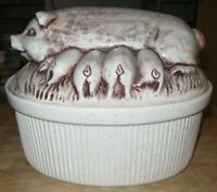 Stoneware Pig Covered Casserole Dish Craft Pottery Hog Piglets Two Quart