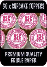 30 X PINK HAPPY 18TH BIRTHDAY EDIBLE CUPCAKE TOPPERS THICK RICE PAPER 1333