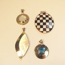 4 PCS Mother of Pearl Abalone Shell 925 Stainless Steel Handmade Pendants