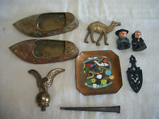 Lot Of 8 Vintage Brass & Cast Iron Collectibles Figurines Wholesale Lot