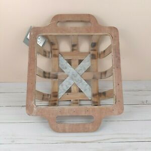 Rustic Square Basket Container Wood Metal