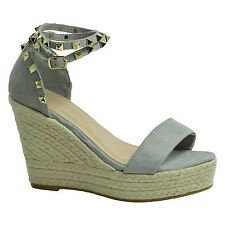 Womens Wedge Espadrille Suede Effect Studded Ankle Strap Casual Formal Shoes Grey Uk6 (eu39)