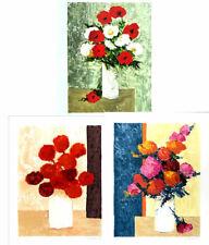 Gilbert ARTAUD Flowers Lot Of 3 Signed Original Lithographs 25 x 19-3/4
