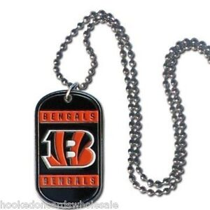 Cincinnati Bengals NFLTeam Logo Dog Tag Necklace Neck Tag with Chain Engraveable