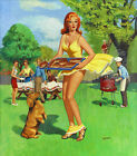 Vintage Pin Up Art  12 x 12