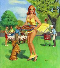 "Vintage pulp illustration Art Lust in Paradise 13 x 19/""  Photo Print"