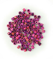 Keramik Zylinder hellpink lila gefleckt 6mm 100 Stück griechische Keramikperlen