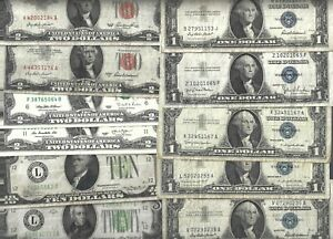 U S Small Size Notes mixed lots 😱 11 Banknotes 😱 Collections & Lots #105965