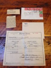 1937 Marriage License Harold Fitch Margaret Sanford Luray Virginia Love Letters