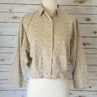 Vtg 80s 90s Bird Print Blouse Top M Cropped Dolman Sleeve Beige Cotton Button Up
