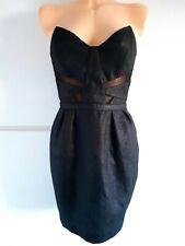Topshop RRP£75 Black Strapless Dress Size 12 Pencil Party Evening Corset Bandeau