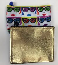 Ipsy Glam Bag LOT of 2 Metallic Gold Vintage Glasses Cateye Clutch Purse Makeup