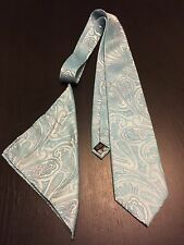 Ferrecci Light Blue Long Classic Microfiber Mens Neck Tie w/handkerchief