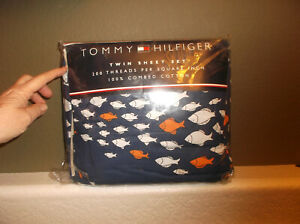 Tommy Hilfiger Blue School of Fish 3-Pc Twin 100% Cotton Sheet Set – NIB
