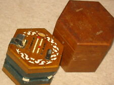 "Nice, old English Concertina in wooden box, ""C. Wheatstone"" 48key, needs service"