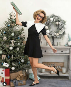 NWT Zara Peter Pan Collar Knit Dress Black Size M