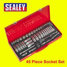 """SEALEY 45 Piece 3/8"""" Metric & Imperial AF Socket Set & Ratchet + Case AK692"""