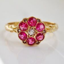 Stunning Antique Art Deco 18ct Gold Ruby & Diamond set Floral Cluster Ring c1920