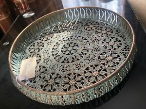 30cm Moroccan Style Ornate Metal Tray Iron Antique Vintage Decorative Home NEW