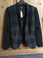 H & M Fitted Blazer Black & Green Tartan Uk 10 BNWT LOOK