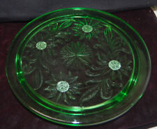 10'' Green Depression Glass Daisy Flower Glass Cake Cookie Cheese Plate [S8067]