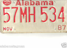 1987 ALABAMA~57MH 534=MOBILE HOME~LICENSE PLATE~TAG