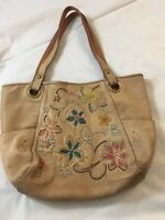 Fossil Genuine Leather Long Live Vintage Tote Shopper Handbag Purse Tan Flowers