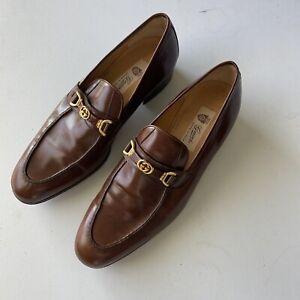 Vintage Gucci Men Brown Formal Slip On Dress Shoe Size 10.5 Eu 43 1/2