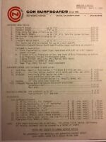 "CON Surfboards""1980 Cost Sheet""1960 Santa Monica/Venice Surf(jacobs,velzy,bear"