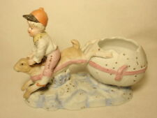 New listing Bisque Ceramic Boy Riding Bunny Rabbit Easter Egg Planter Figurine *Repaired*