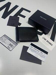 Prada Saffiano Black Leather Clip Card Wallet - RRP £380