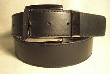 Ecko Unltd Mens Black/Black & Grey Bonded Leather Rev. Belt Sz 36