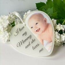 I love my mummy photo personalised acrylic heart 125mm New Baby Mothers Day