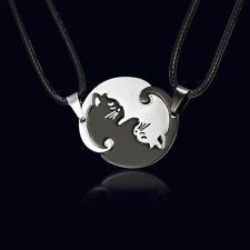 Ying & Yang Cat Necklace Pendant Chain Set Tai Chi Silver Necklace Jewelry