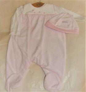 Emile et Rose Pink & White Striped Dungaree, L/Slv Top & Hat Set 0-3 months BNWT