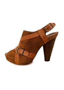 Miss Sixty Taylor Womens BROWN Peep Toe Suede Heels Shoes Platforms  Size 9.5