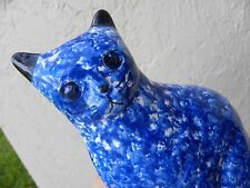 Cat White blue PORCELAIN piggy bank money box home decorative sculpture