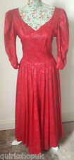 LAURA ASHLEY Vintage RED HEAVY DAMASK COTTON 80's Vicoriana dress fits 10 12 NEW