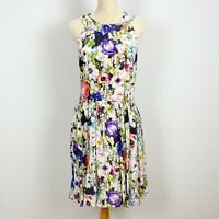 ALANNAH HILL Size 12 100% Silk Don't Let Go Dress Frock Floral Lined Fit Flare