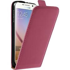 Artificial Leather Case for Samsung Galaxy S6 Flip-Case hot pink