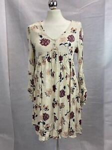 Cream/Pink Floral Crinkle Fabric Summer V Neck Long Sleeve Smock Dress Size 8