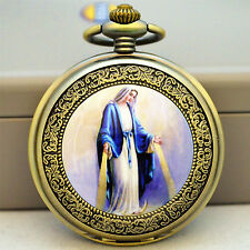 Vintage Style Classic Jesus Stainless Steel Fob Pocket Quartz Watch God