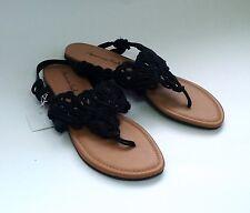 American Eagle Women Gladiator Sandal Black Flat Y strap Thong Macrame sz 7.5