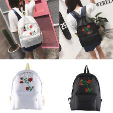 Girl Women Rose Canvas Embroidery Backpack Schoolbag Rucksack Travel College Bag