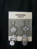 Pair of Beautiful Silver Plated Austrian Crystal Dangling Butterfly Earrings