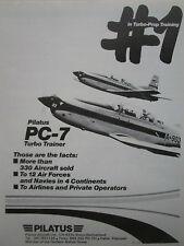1/1984 PUB PILATUS PC-7 TURBO TRAINER AIRCRAFT FLUGZEUG AVION ORIGINAL AD