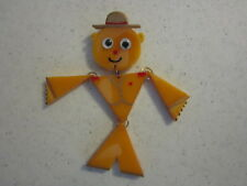 JL Foltz Signed Yellow Bakelite Articulated, Painted, Soldier Pin Google Eyes