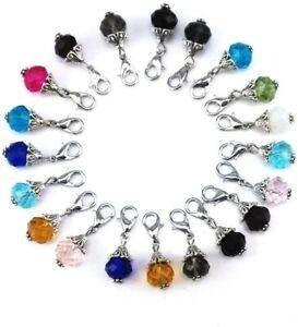 4 Clip On Charm Dangles Assorted Lot Bead Drops Set Mixed Pendants Set Glass