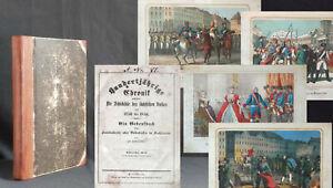 Hunderjährige Chronik des sächsischen Volkes 1850 kolorierte Lithos Sachsen